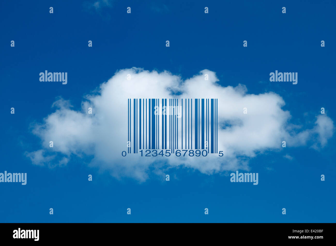 Barcode on cloud (universal product code UPC-A) Stock Photo