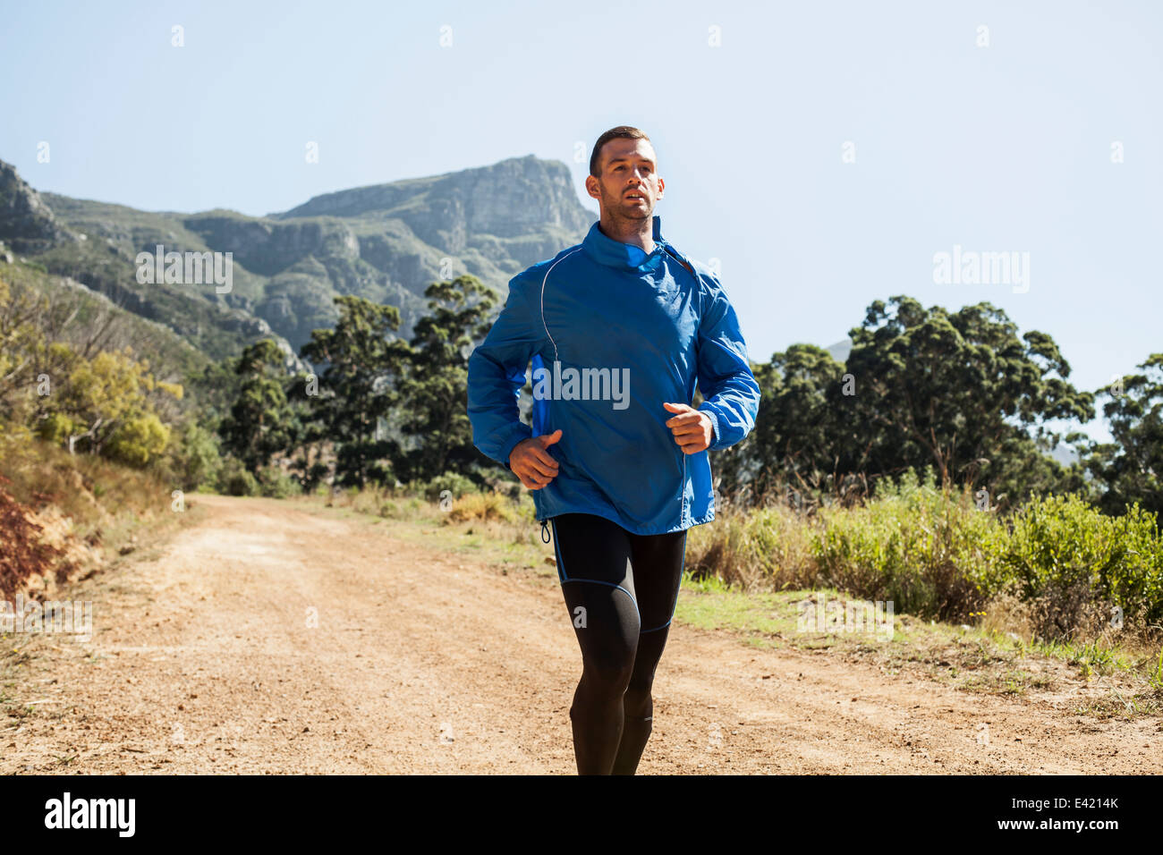 Young man jogging in forest - Stock Image