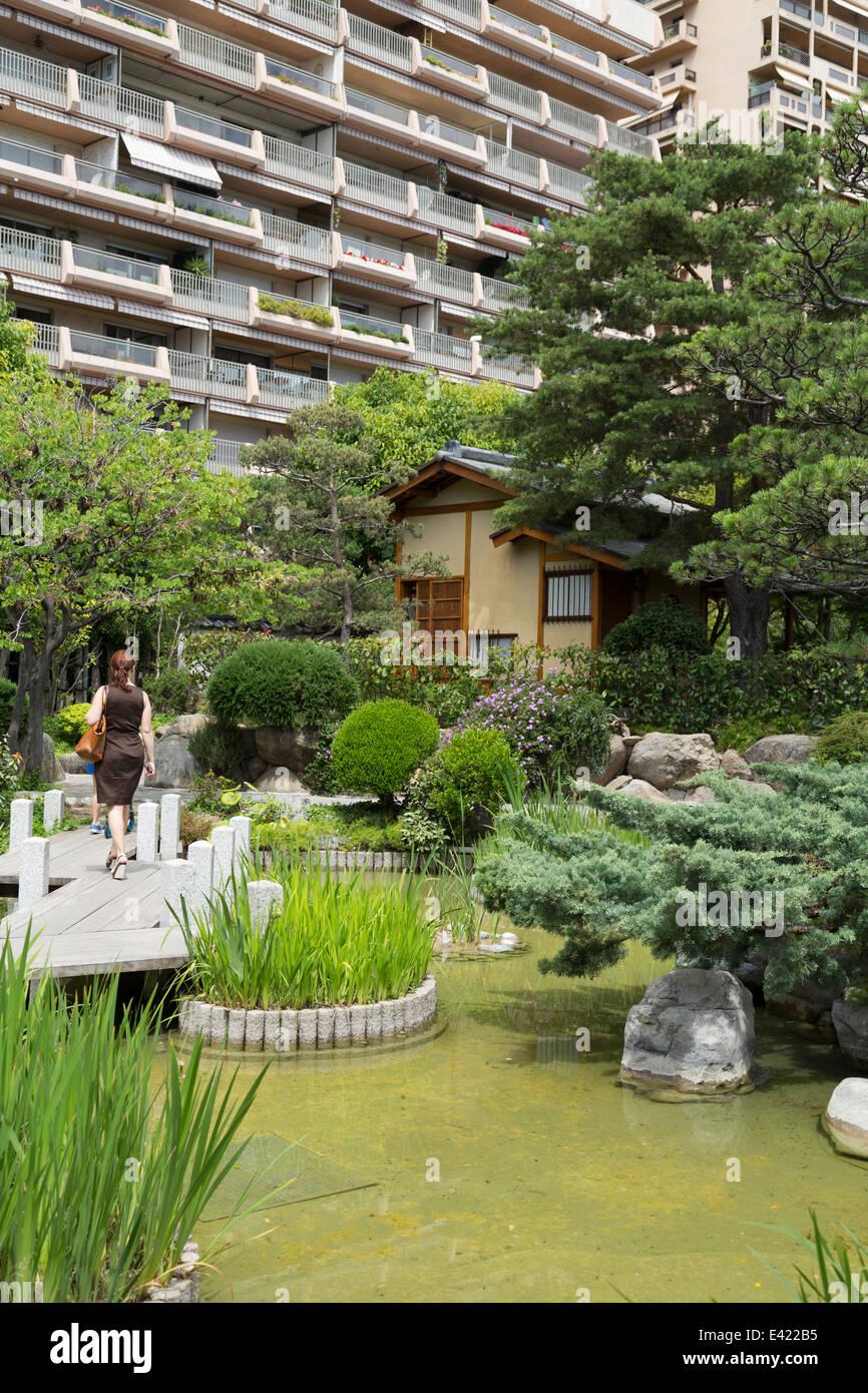 Monaco, view of the Japanese gardens 'Jardin Japonais de Monaco'. - Stock Image