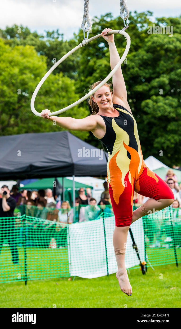Acrobat performing with a hoop - Stock Image