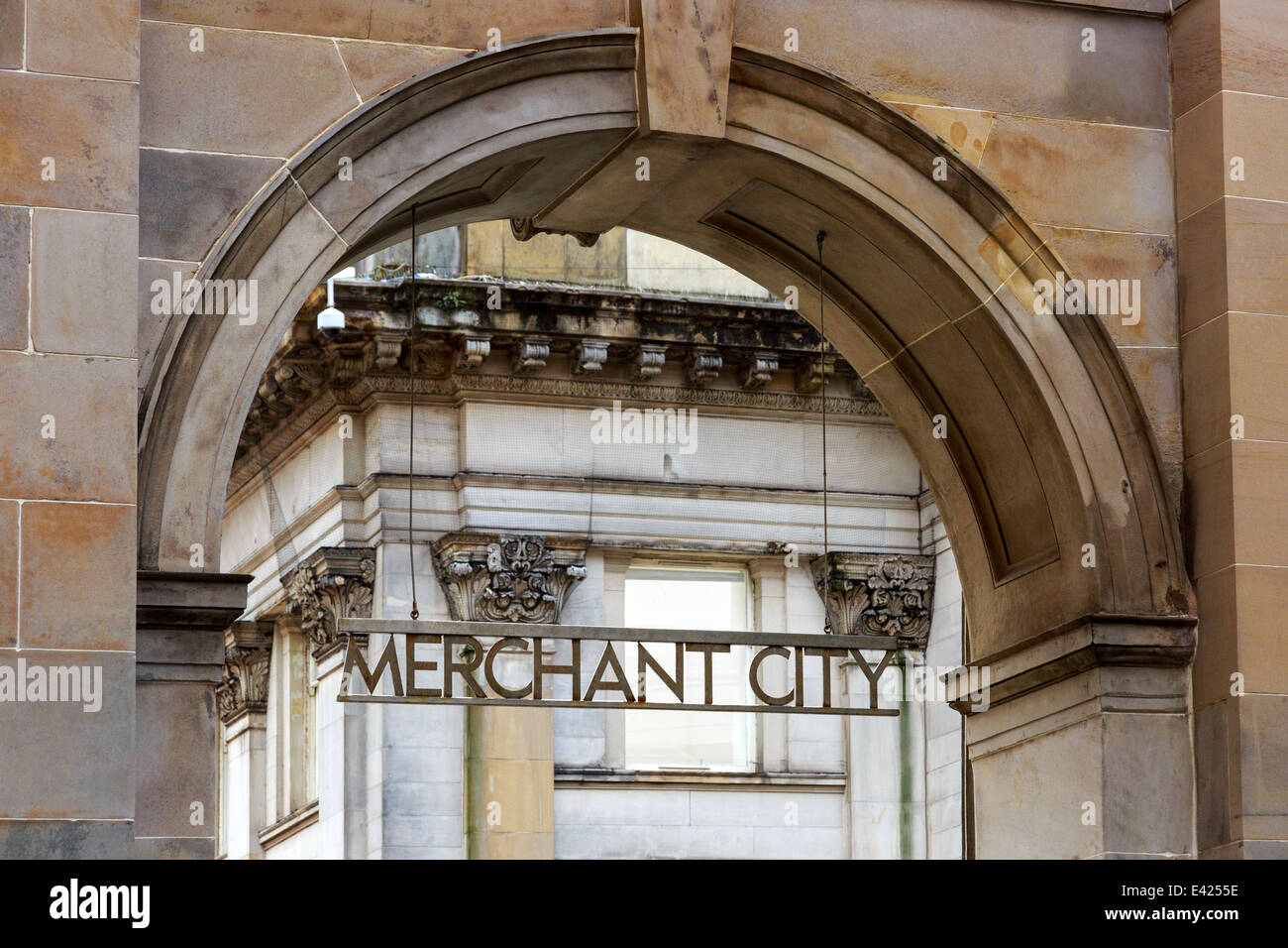 Arched entrance to Merchant City district of Glasgow city centre, Scotland, UK - Stock Image