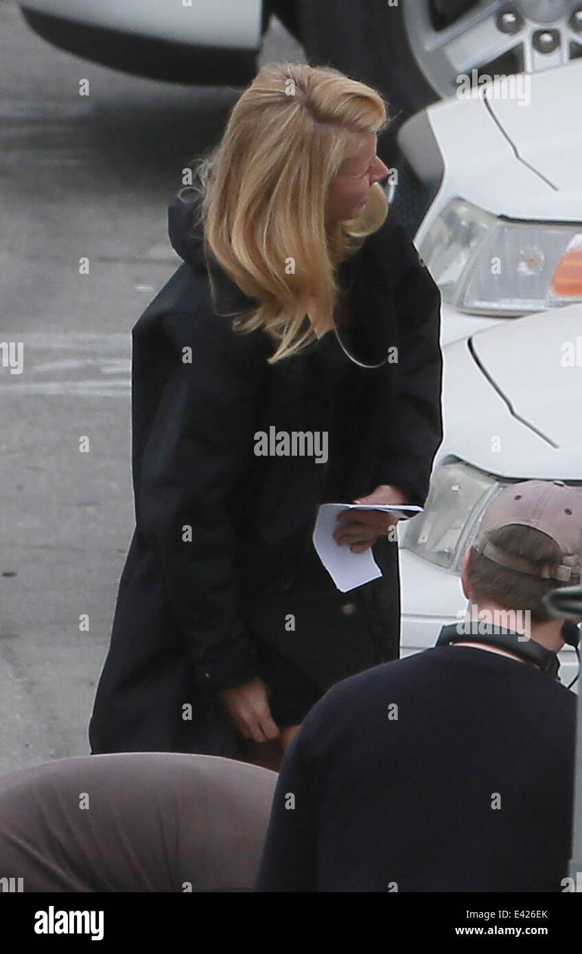 Johnny Depp and Gwyneth Paltrow on the set of Mortdecai in Los Angeles  Featuring: Gwyneth Paltrow Where: Los Angeles, - Stock Image