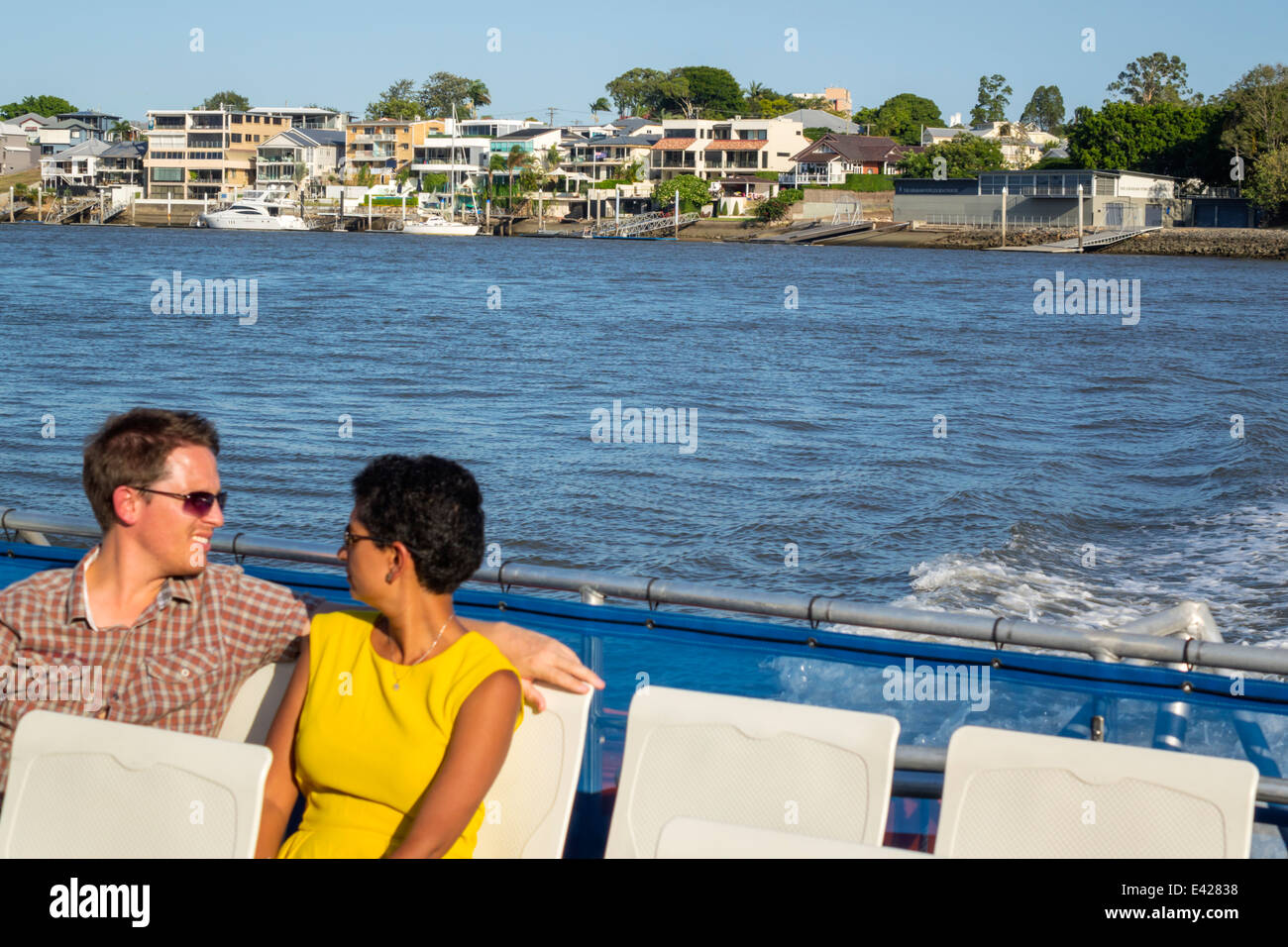 Brisbane Australia Queensland Brisbane River New Farm waterfront residences CityCat ferry boat public transportation - Stock Image