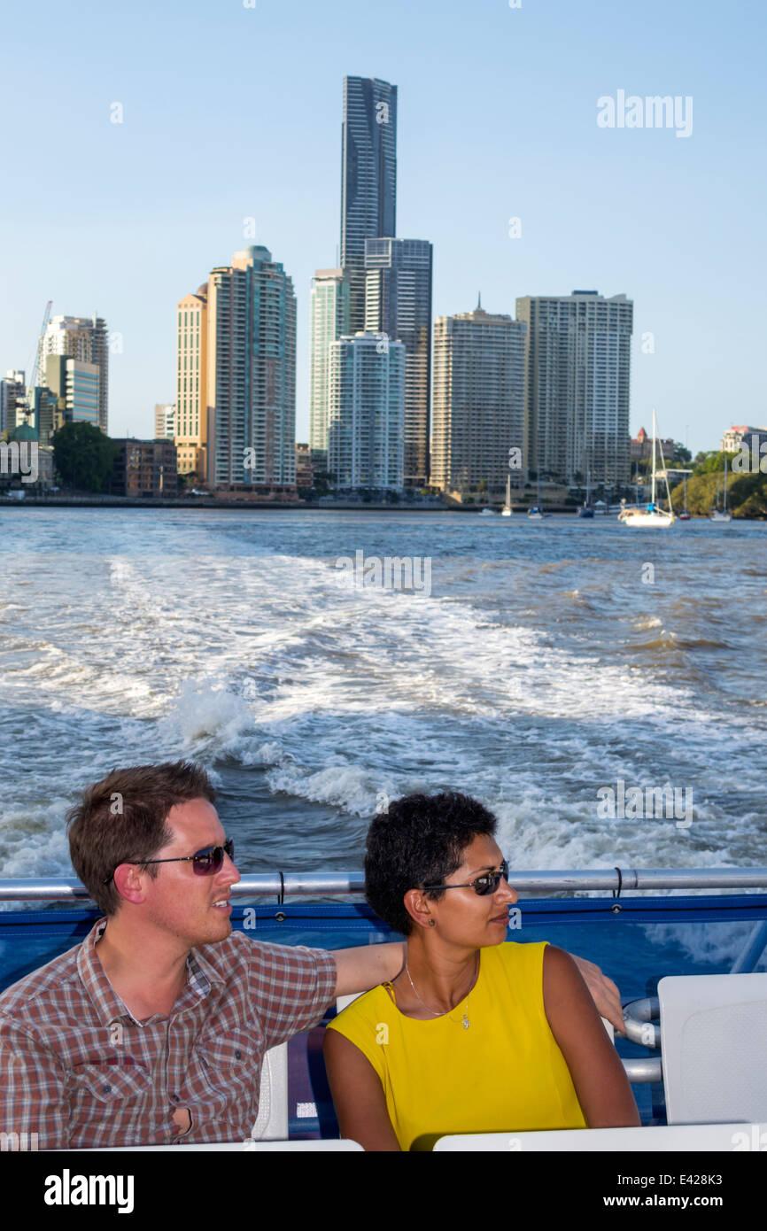 Brisbane Australia Queensland Central Business District CBD Brisbane River CityCat ferry boat public transportation - Stock Image