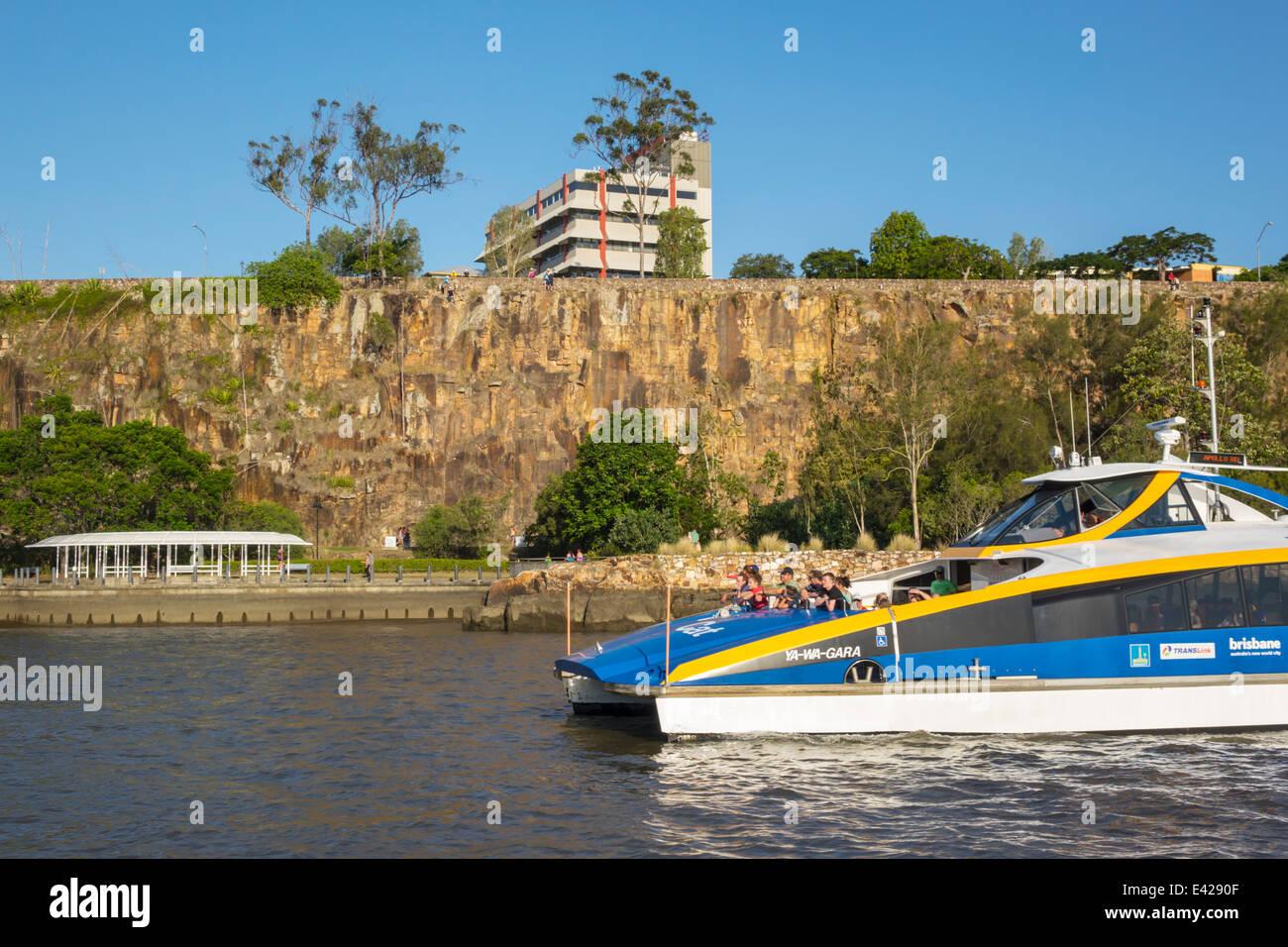 Brisbane Australia Queensland Kangaroo Point Cliffs Brisbane River CityCat ferry boat public transportation riders - Stock Image