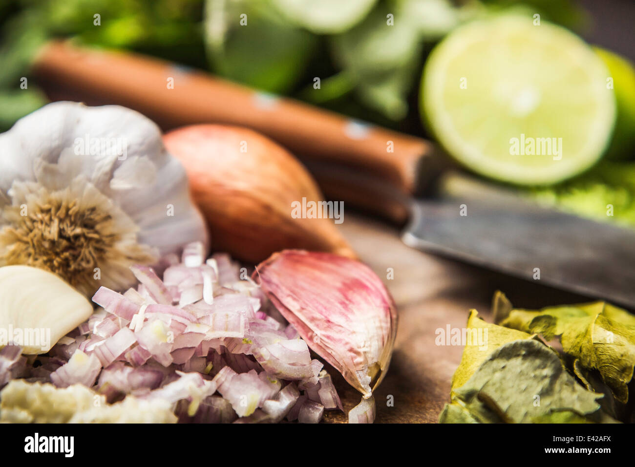 Ingredients for making green curry paste - Stock Image