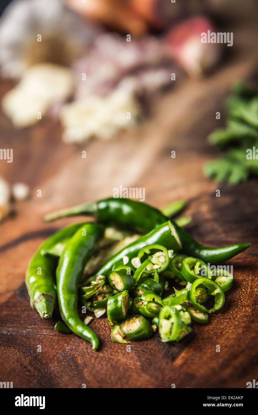 Ingredient for making green curry paste - chilli - Stock Image