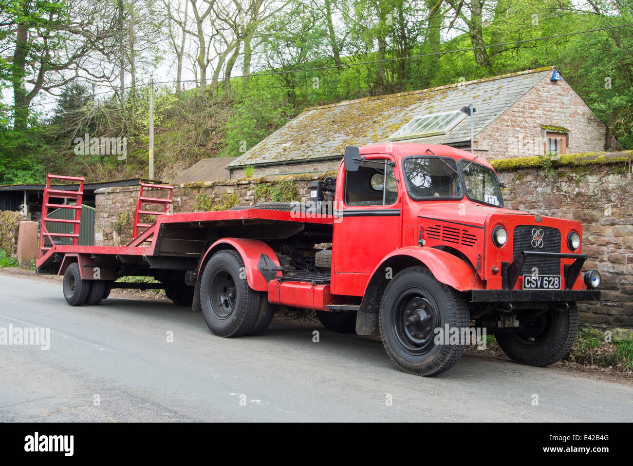 An old Bedford truck in Kirkoswold, Eden Valley, Cumbria, UK. - Stock Image