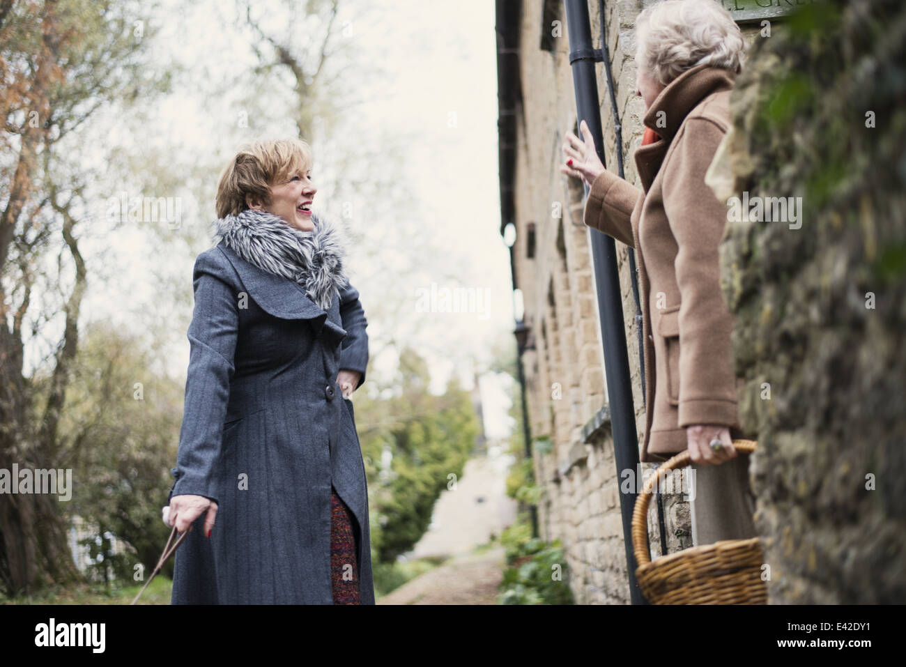 Mature woman greeting senior woman - Stock Image