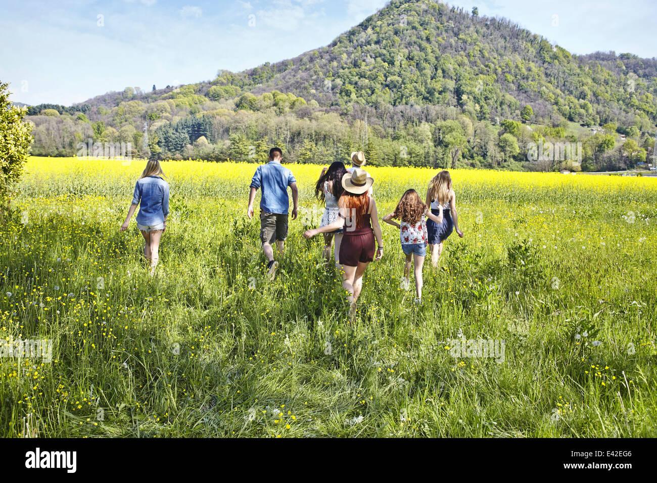 Group of friends walking in field - Stock Image