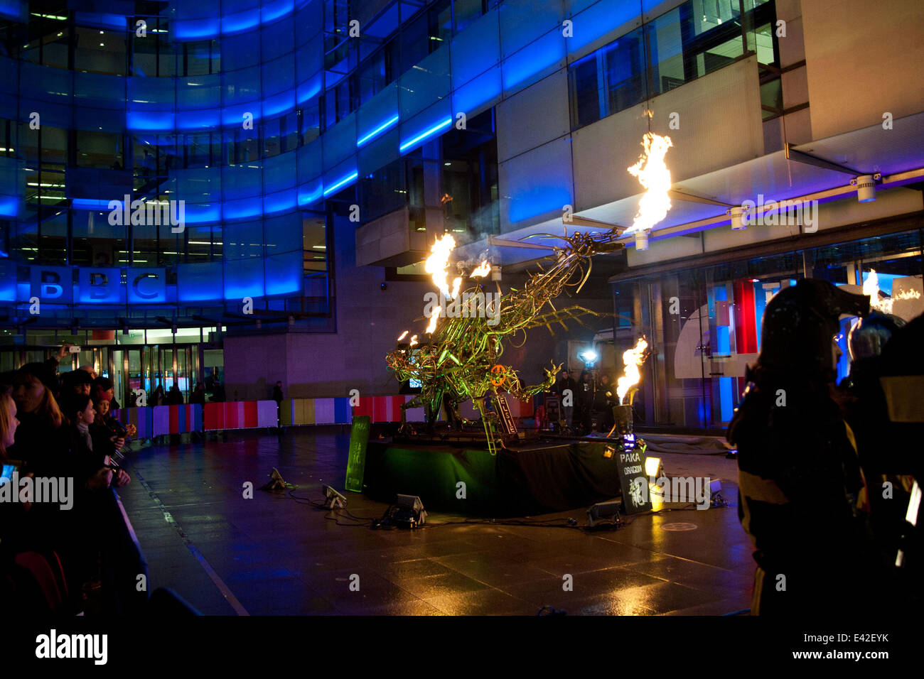 A mechanical fire breathing dragon on 'The One Show' at the