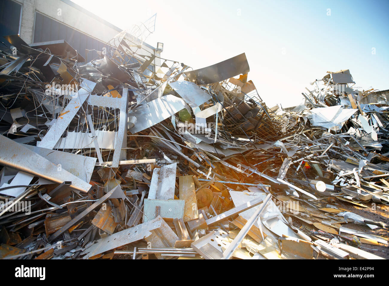 Tangled heap of aluminium in scrap yard - Stock Image