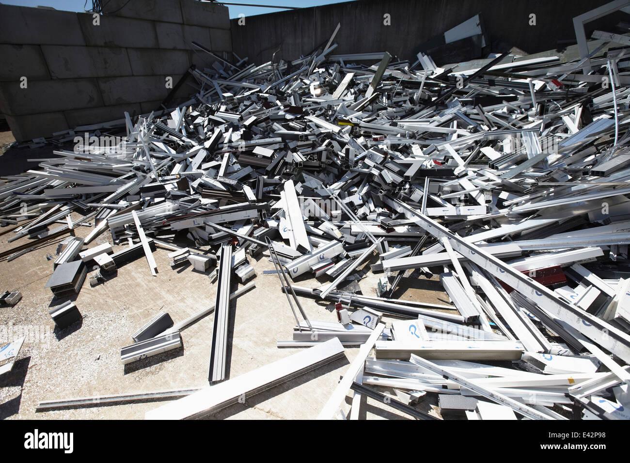 Heap of aluminium parts in scrap yard - Stock Image