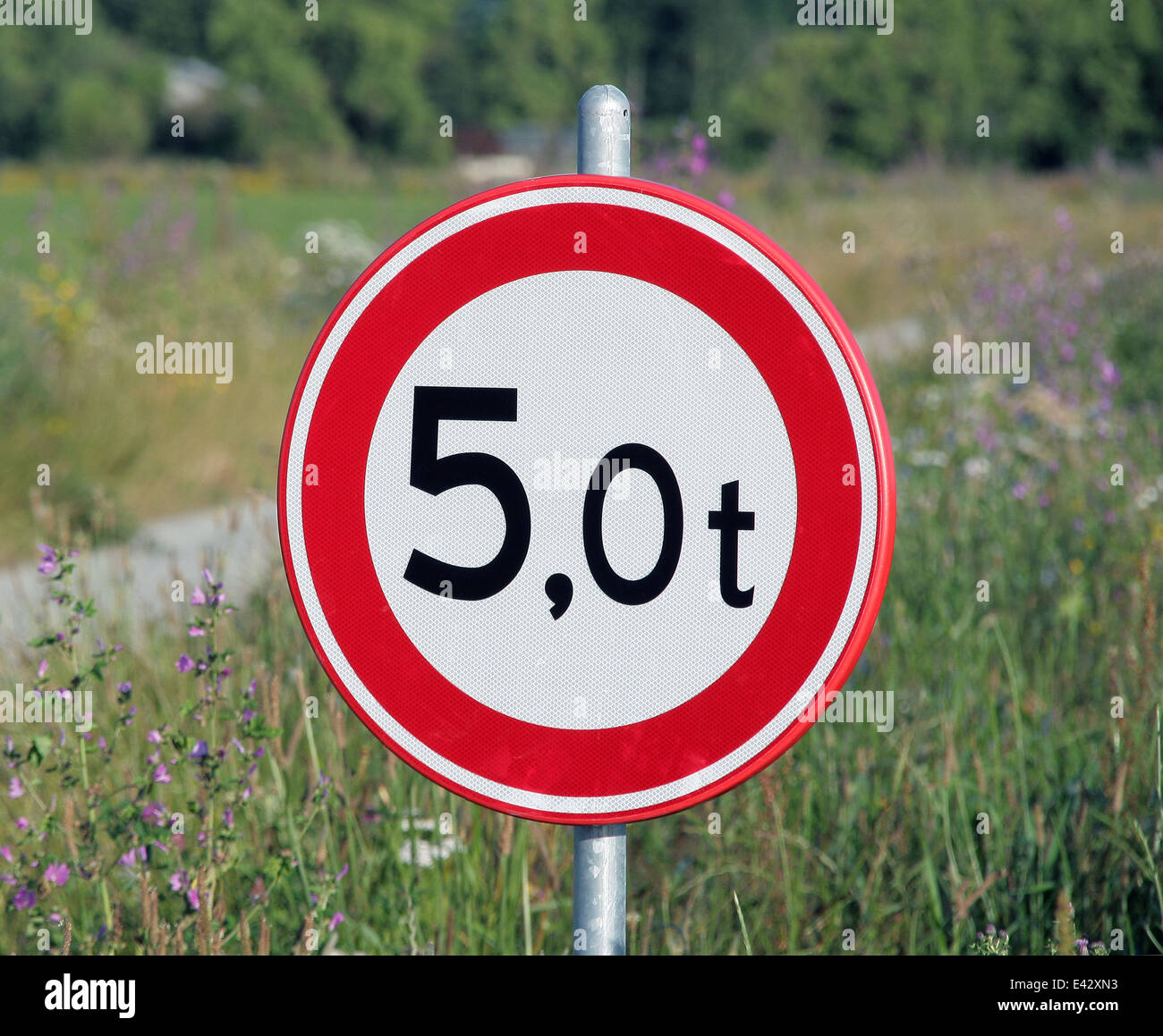 No entry over 5000 kg. - Stock Image