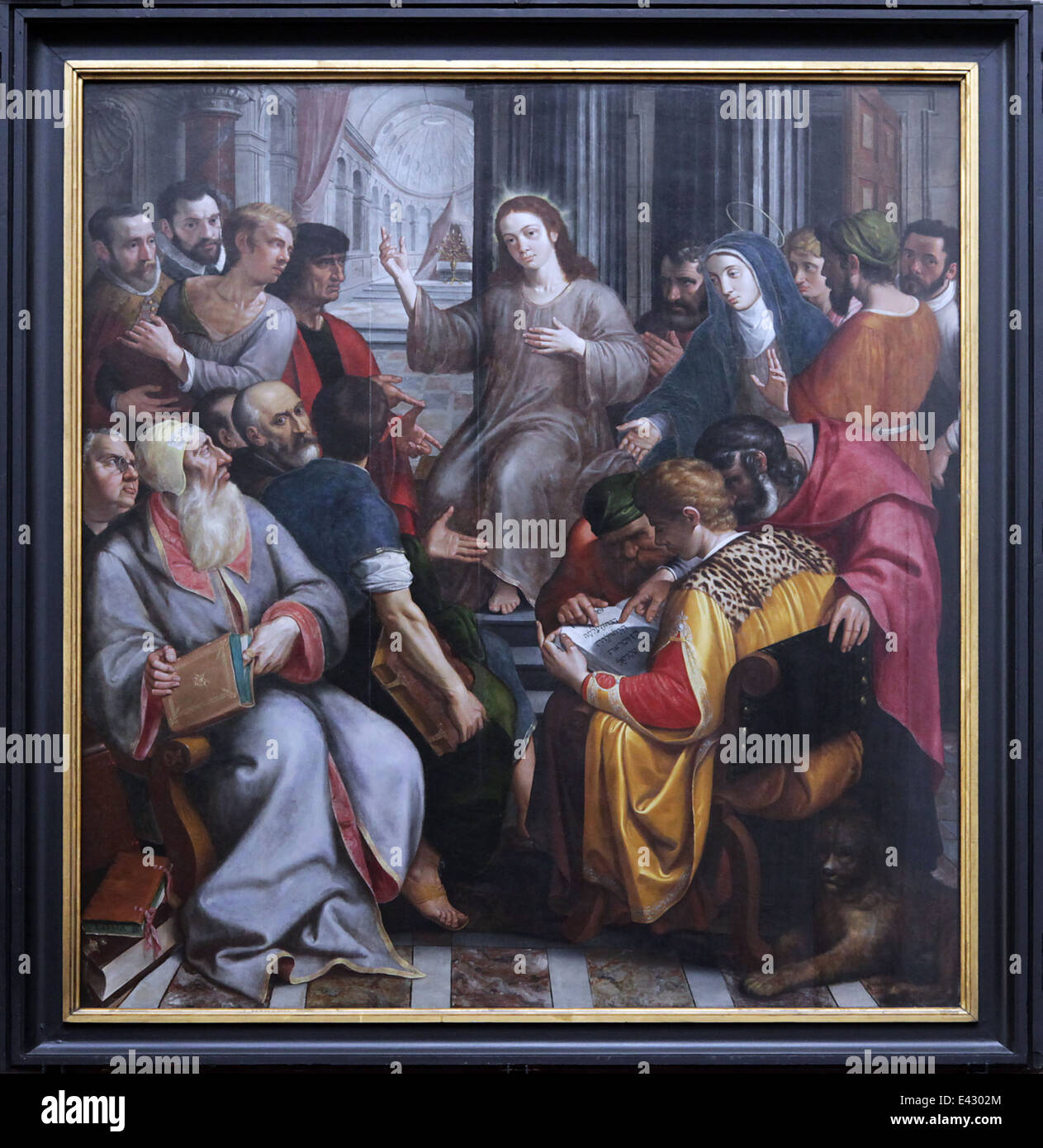 Frans Francken Jesus Among the Doctors 1587.Cathedral of our Lady.Antwerp.Belgium. - Stock Image
