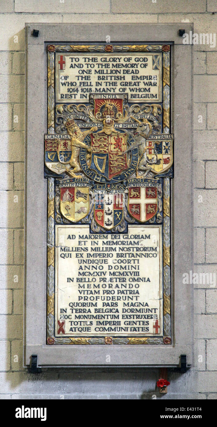 Memorial for one million dead of the British Empire who fell between 1914-1918.The Cathedral of Our Lady.Stock Photo