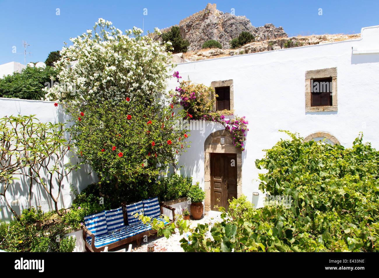 Garden Plants Traditional Villa Lindos Greece - Stock Image