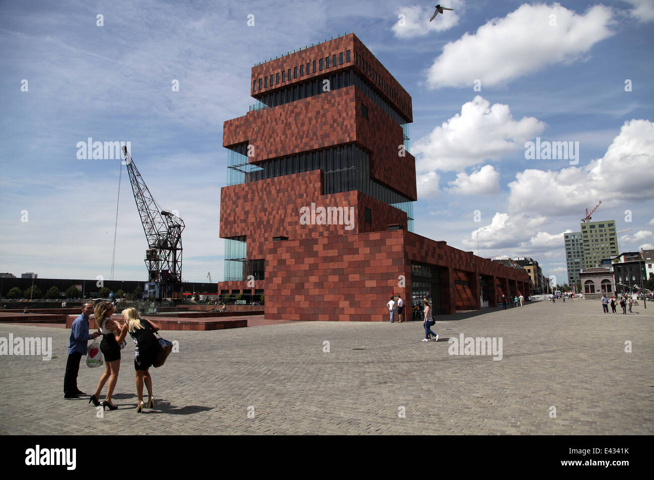 Museum MAS Streetview Street view Antwerp Belgium - Stock Image