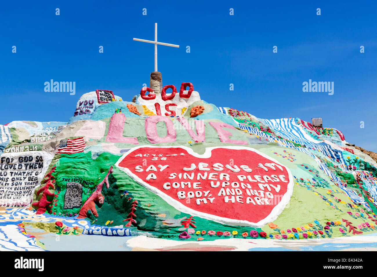 Salvation Mountain, Leonard Knight's large scale piece of religious folk art, Niland, Imperial County, California, - Stock Image