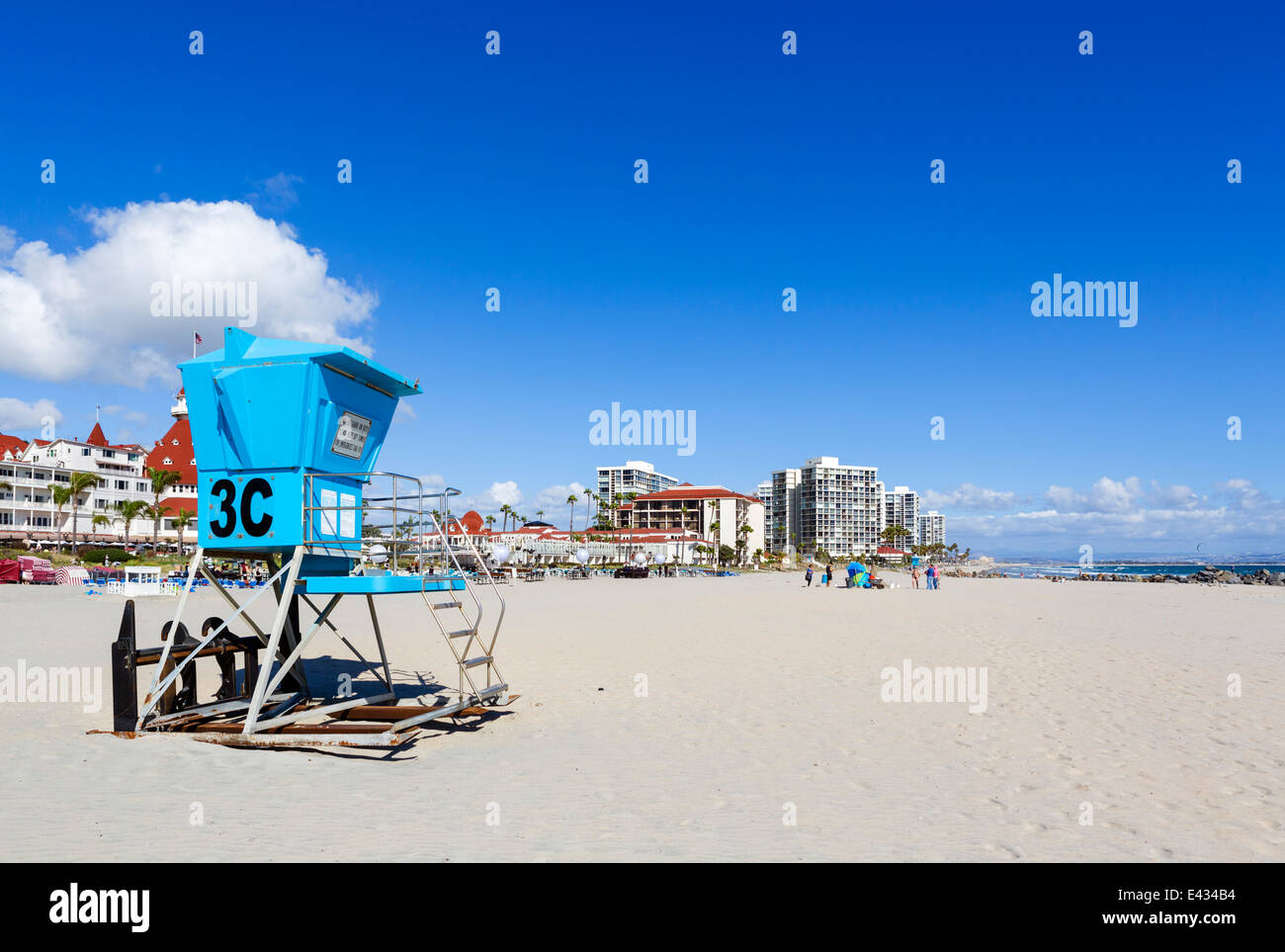 The beach in front of the Hotel del Coronado, Coronado Beach, San Diego, California, USA Stock Photo