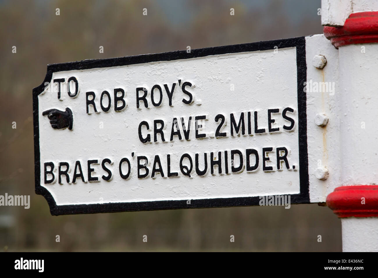 A sign to one of three possible burial places for Rob Roy, a Scottish hero. Stock Photo