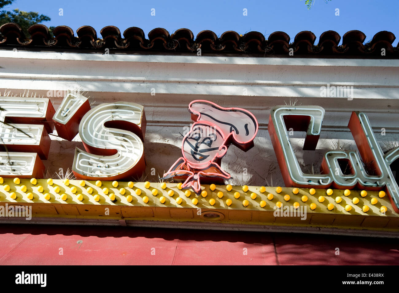 Neon sign at Joe's Cafe on State Street in Santa Barbara, CA - Stock Image