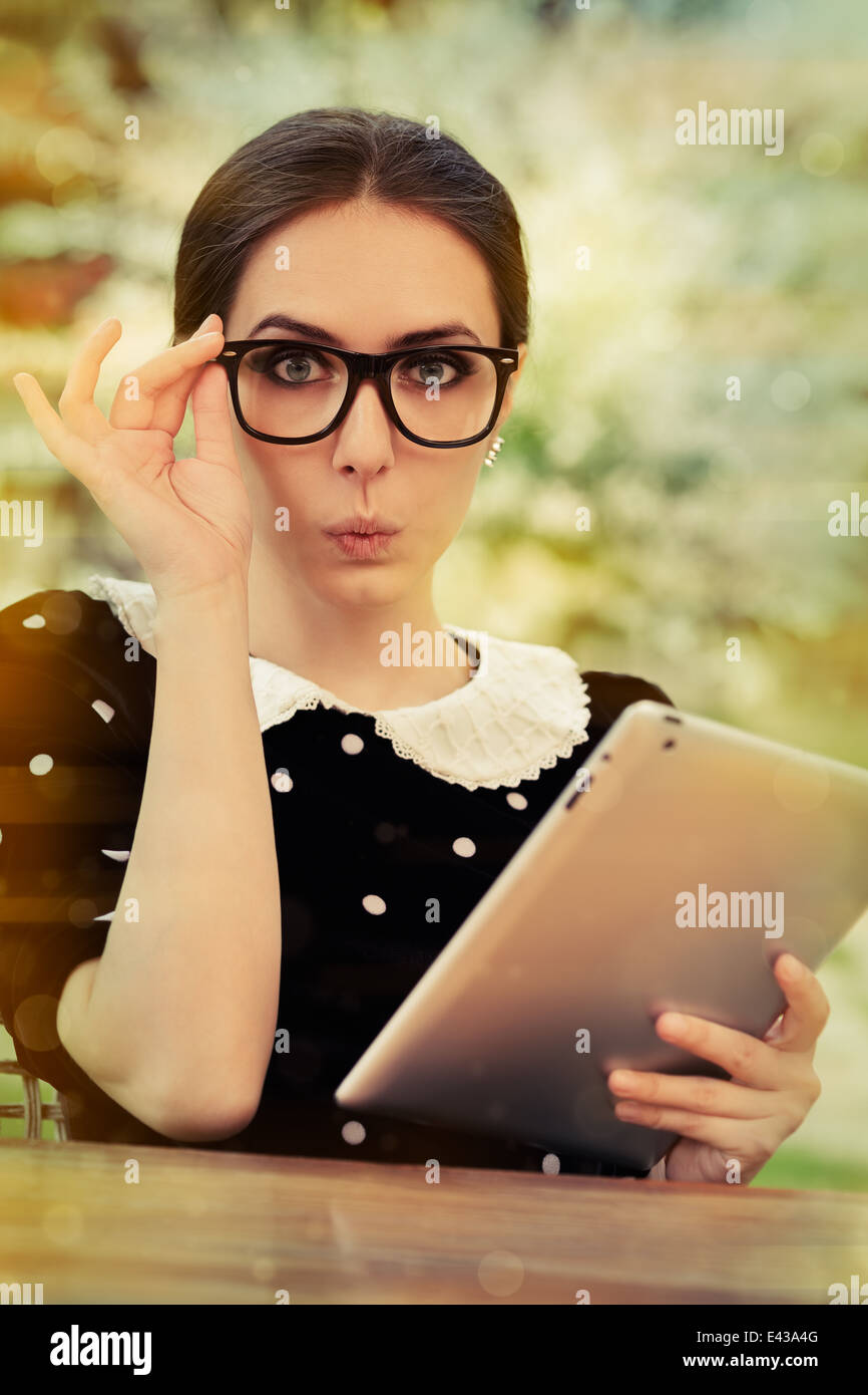 cute nerdy girl reading glasses stock photos cute nerdy girl