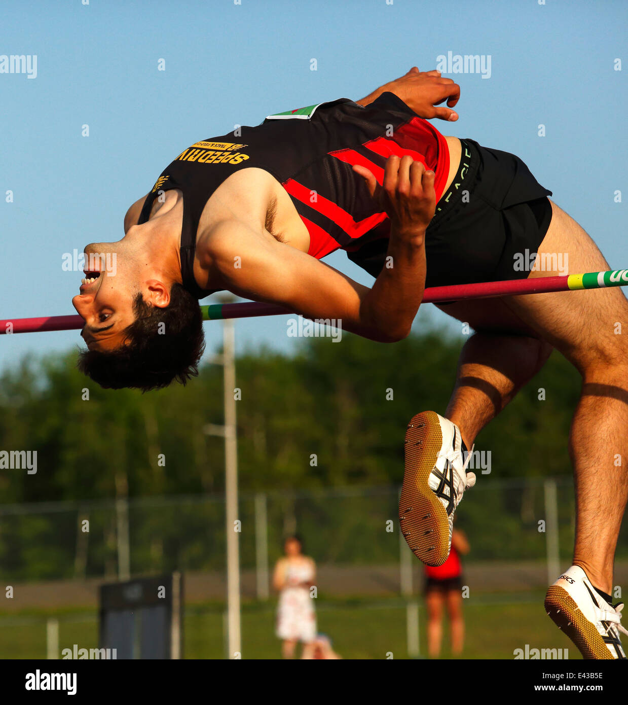 Mitchell Torres leaps in the men's high jump at the Canadian Track & Field Championships June 28, 2014 in - Stock Image