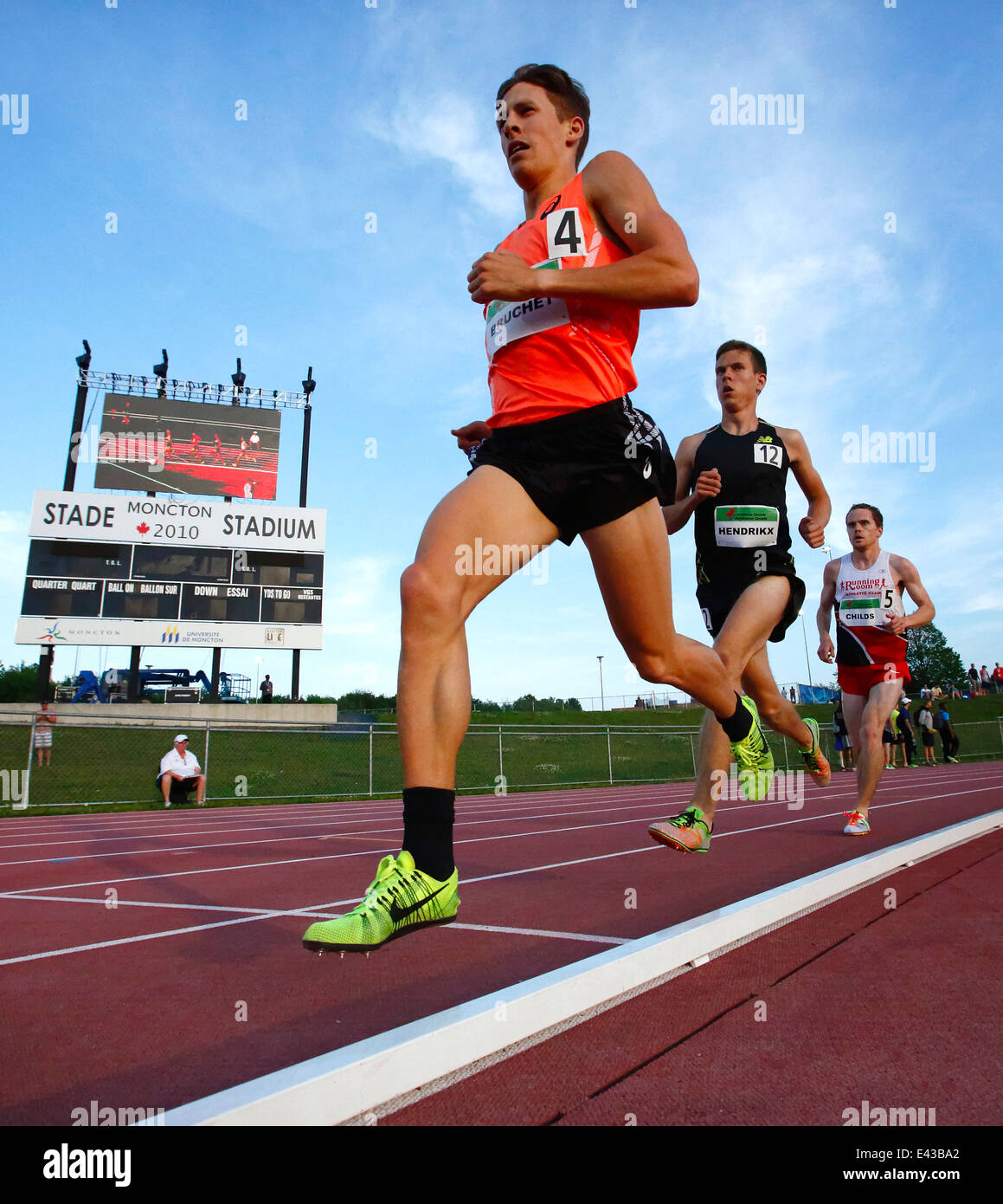 Runners in the men's 5000-metre championship at the Canadian Track & Field Championships June 28, 2014 in - Stock Image