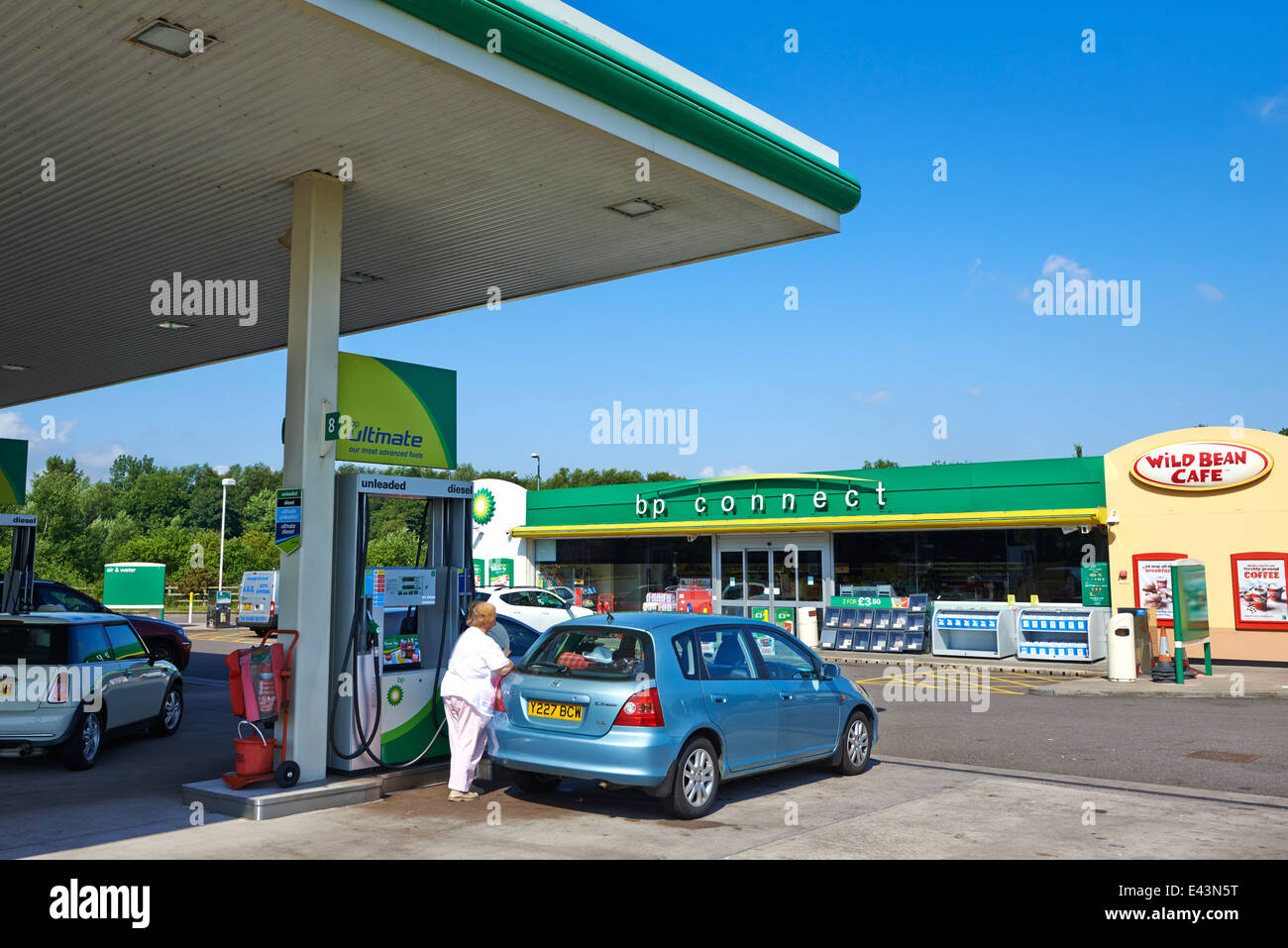 Fuel Forecourt BP Connect Norton Canes Services Staffordshire UK Stock Photo