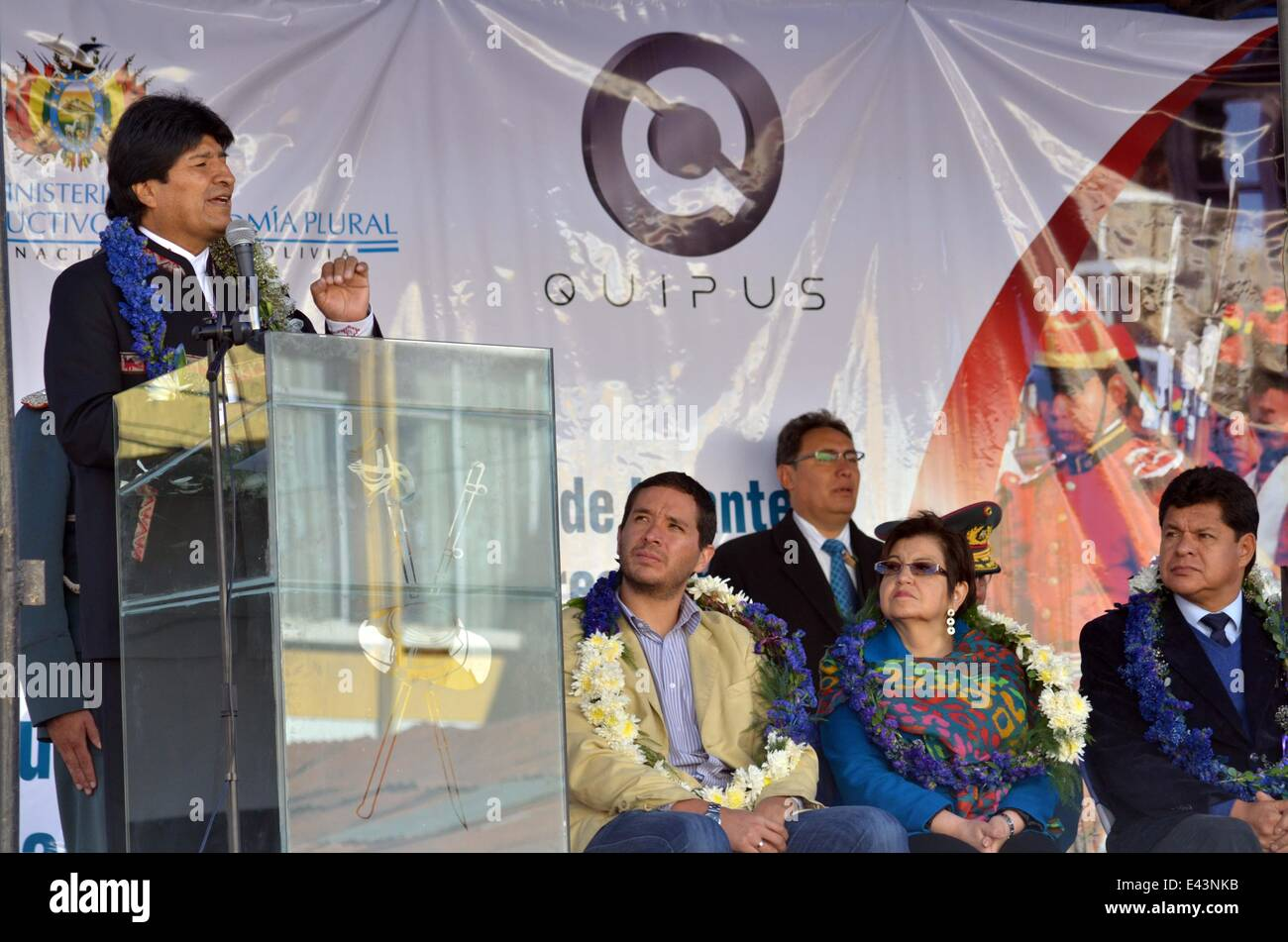 La Paz, Bolivia. 2nd July, 2014. Bolivian President Evo Morales (L) delivers a speech during the inauguration of - Stock Image
