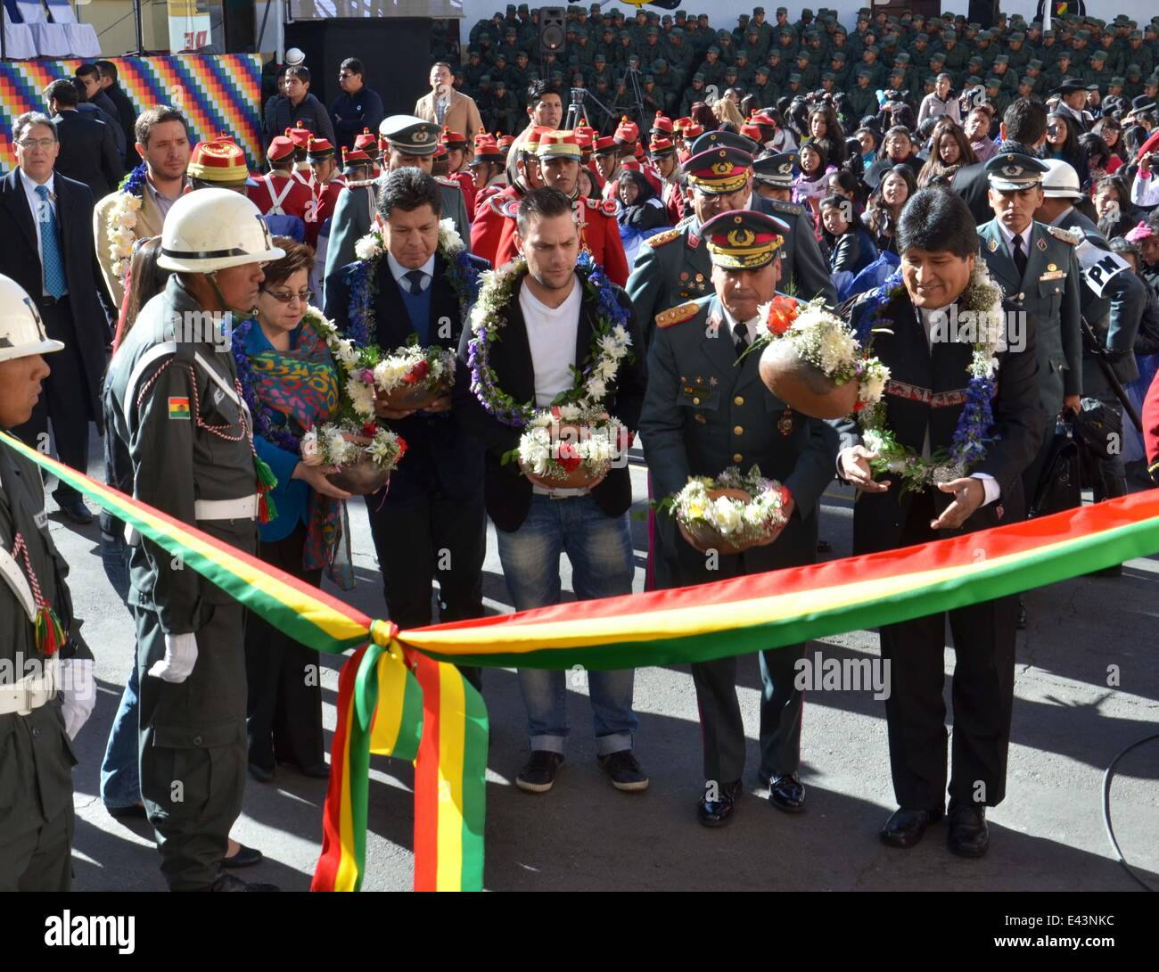 La Paz, Bolivia. 2nd July, 2014. Bolivian President Evo Morales (R) participates in the inauguration of a technology - Stock Image