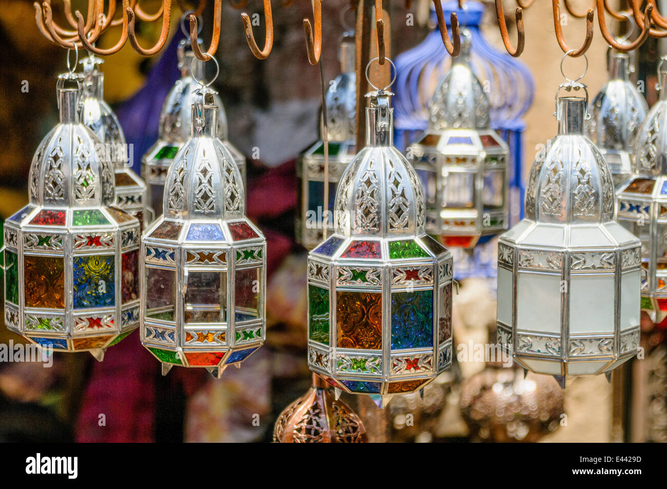 Metal and Glass candle holders lanterns for sale at the Souq in