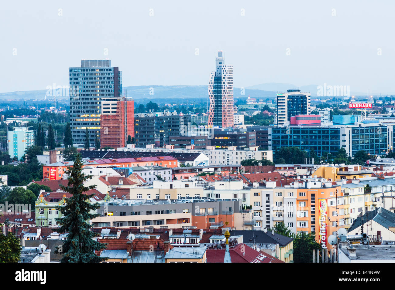 Brno overview showing the AZ Tower skyscraper, the tallest building in the Czech Republic at 111 m. Brno, Czech - Stock Image