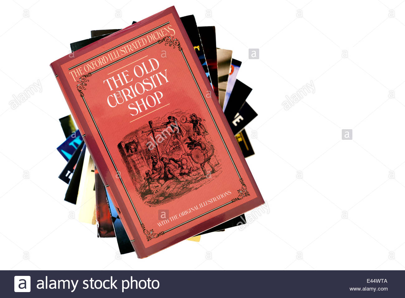Charles Dickens novels, The Old Curiosity Shop, book title, stacked used books, England - Stock Image