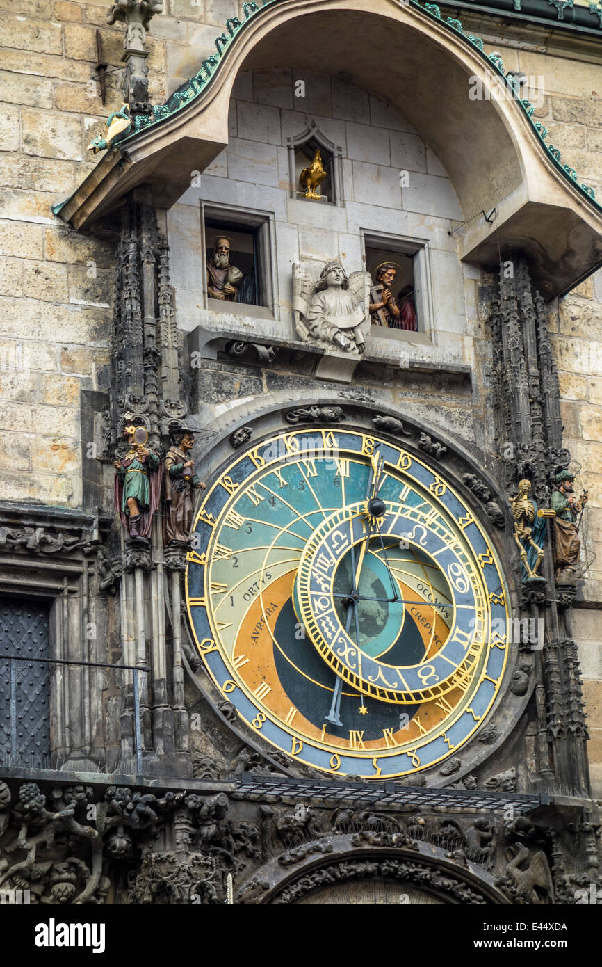 Clock tower in old town square of Prague - Stock Image