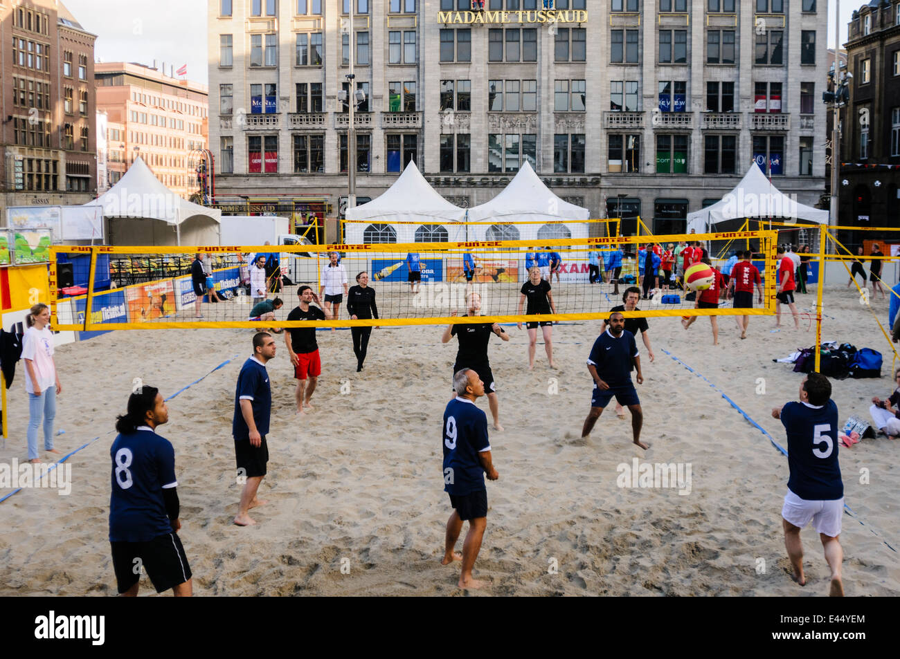 Beach volleyball arena is created in Dam Square, Amsterdam - Stock Image