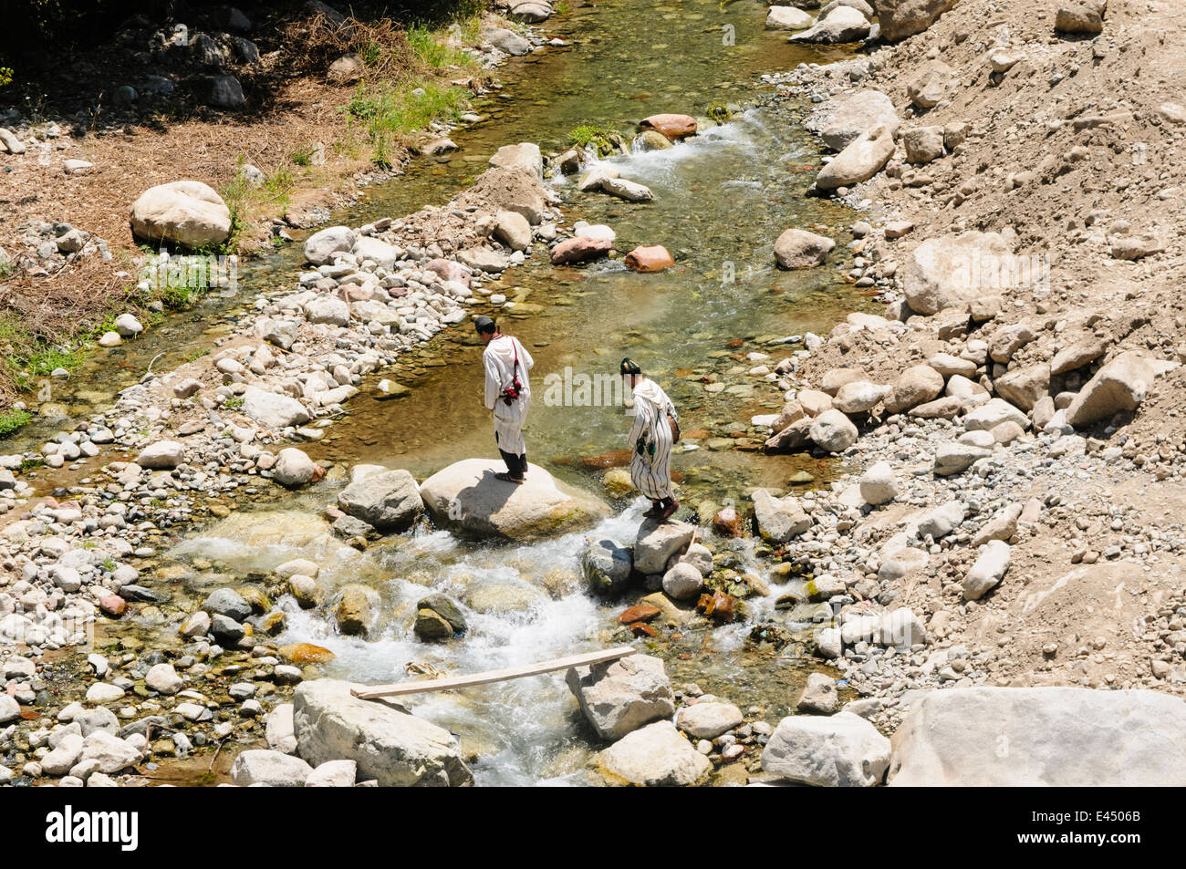 Ourika River, Ourika Valley, Atlas Mountains, Morocco - Stock Image