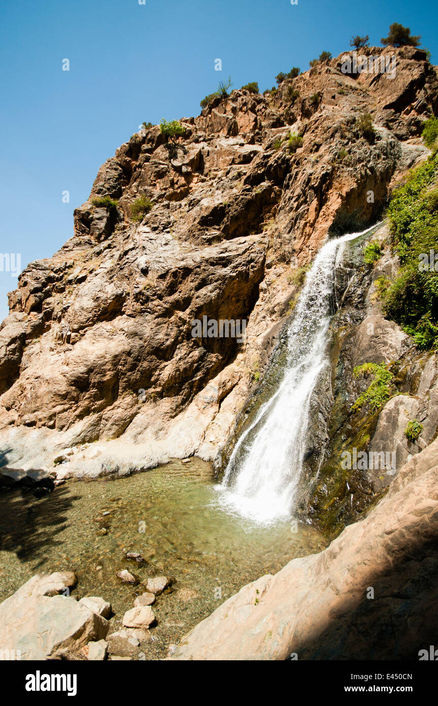 Waterfall at Setti-Fatma, Ourika River, Ourika Valley, Atlas Mountains, Morocco - Stock Image