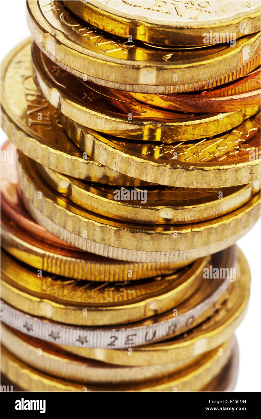 A stack of coins of euro cents.Isolated on white background Stock Photo