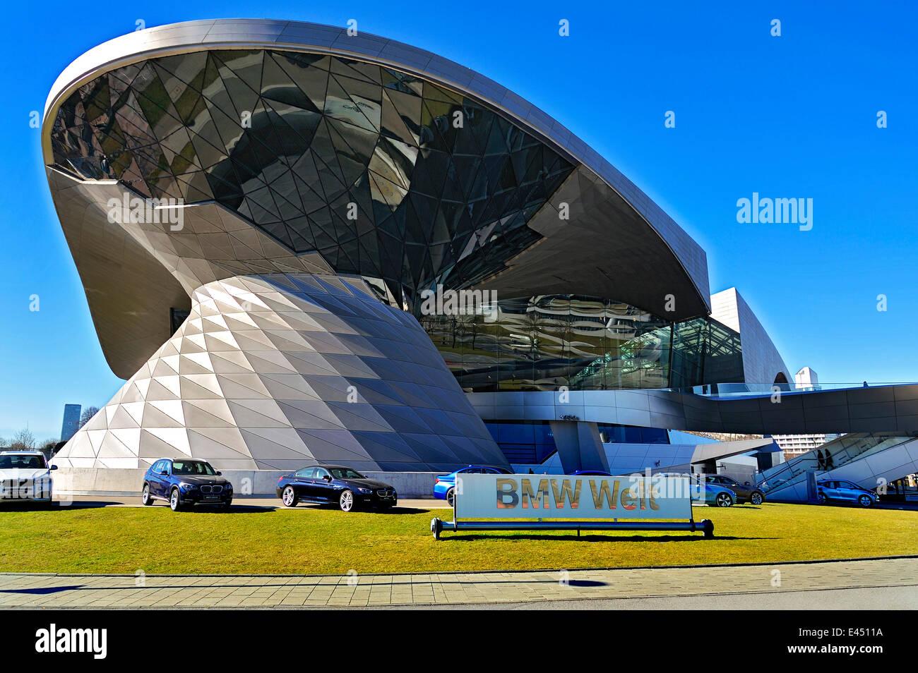 BMW Welt exhibition facility, Munich, Upper Bavaria, Bavaria, Germany - Stock Image