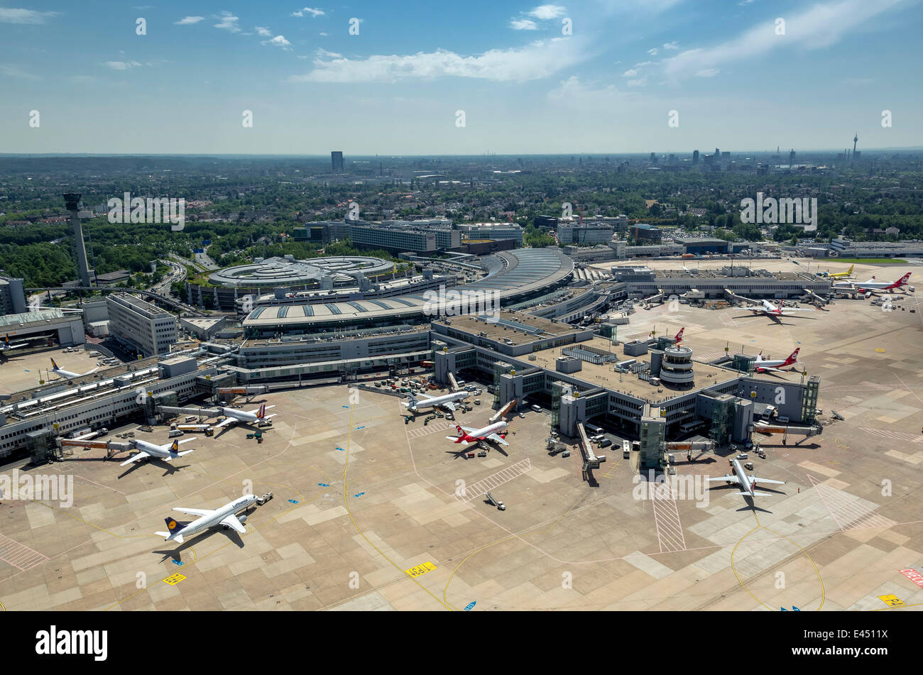 Aerial view, terminals with gates and jet bridges, Düsseldorf Airport, Düsseldorf, Rhineland, North Rhine - Stock Image
