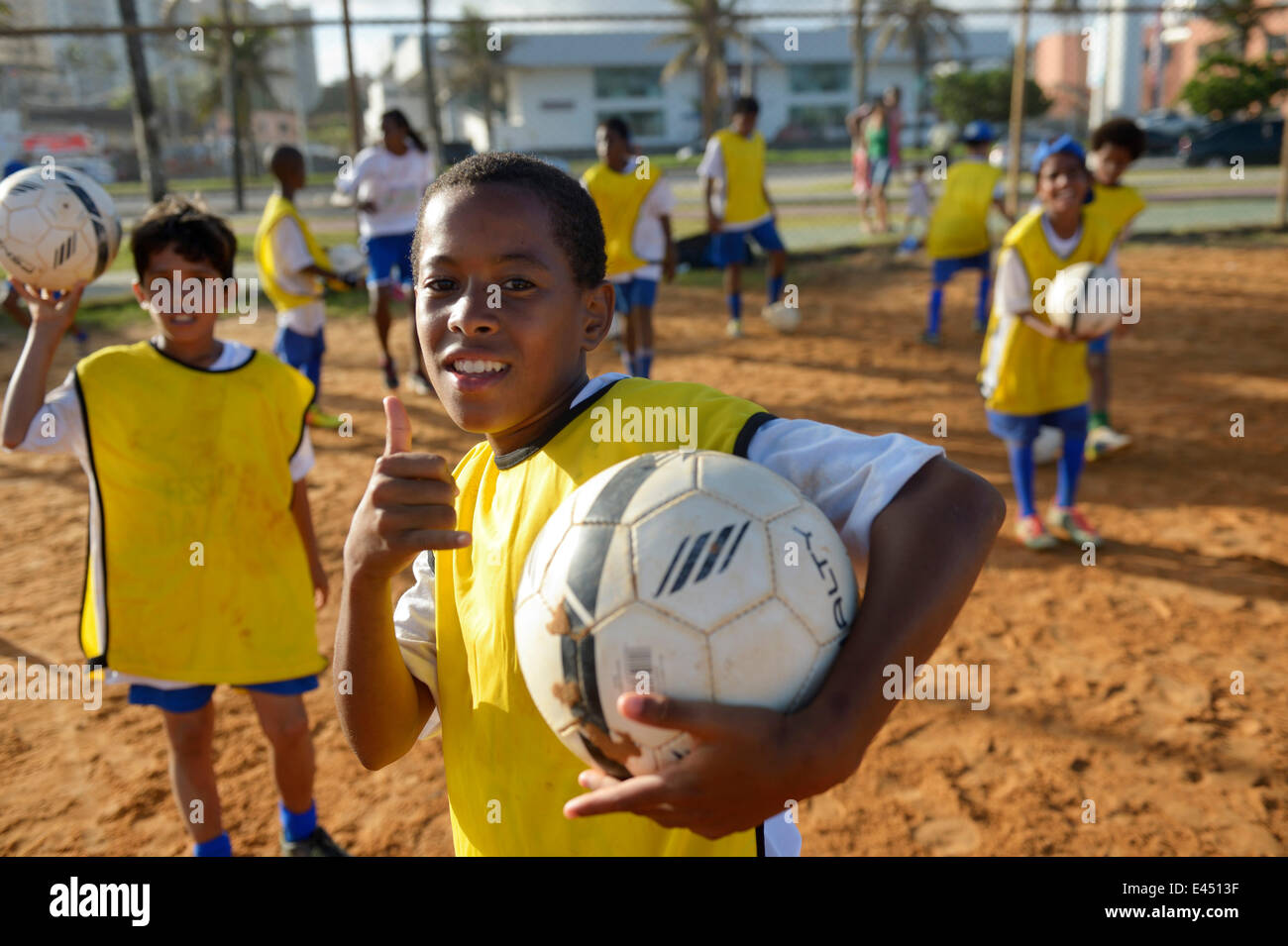 Brazilian boy with soccer ball in a social project of the Deutsche Gesellschaft für Internationale Zusammenarbeit, - Stock Image