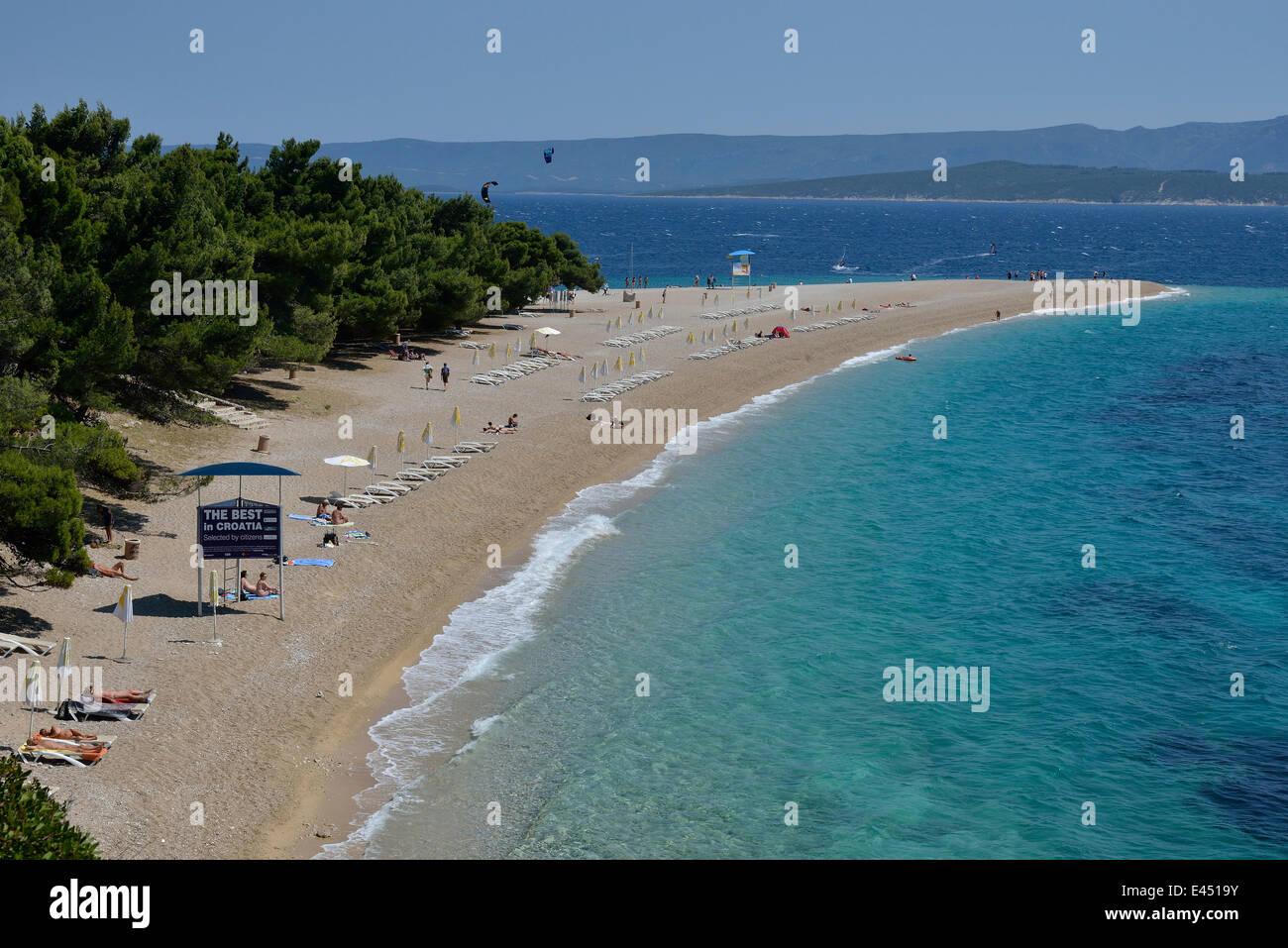 Zlatni Rat Beach, Golden Horn, Island of Brač, Dalmatia, Adriatic, Croatia - Stock Image