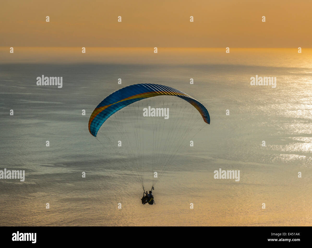 Paraglider tandem jump, paraglider flying over the sea at sunset, Cape Town, Western Cape, South Africa - Stock Image