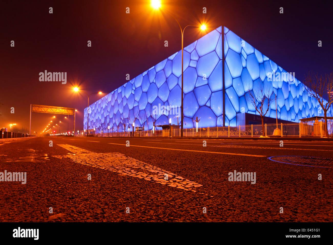 The Beijing National Aquatics Center, also Water Cube, Beijing, China - Stock Image