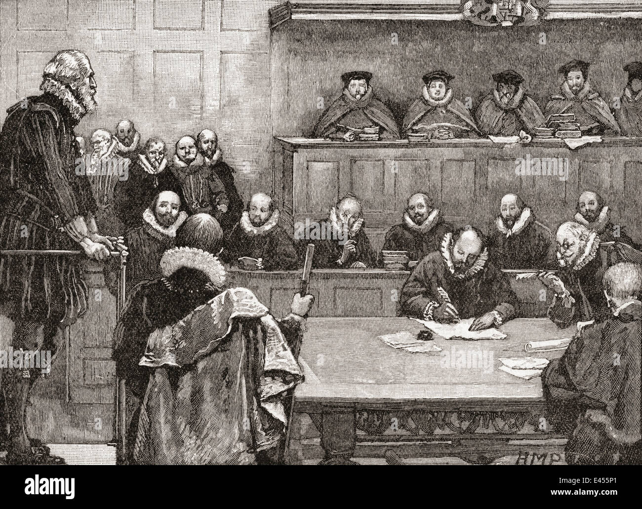 Sir Walter Raleigh before the judges in 1618. - Stock Image