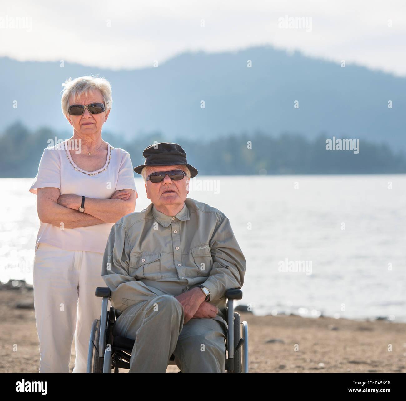 Portrait of senior couple, Big Bear Lake, California, USA - Stock Image