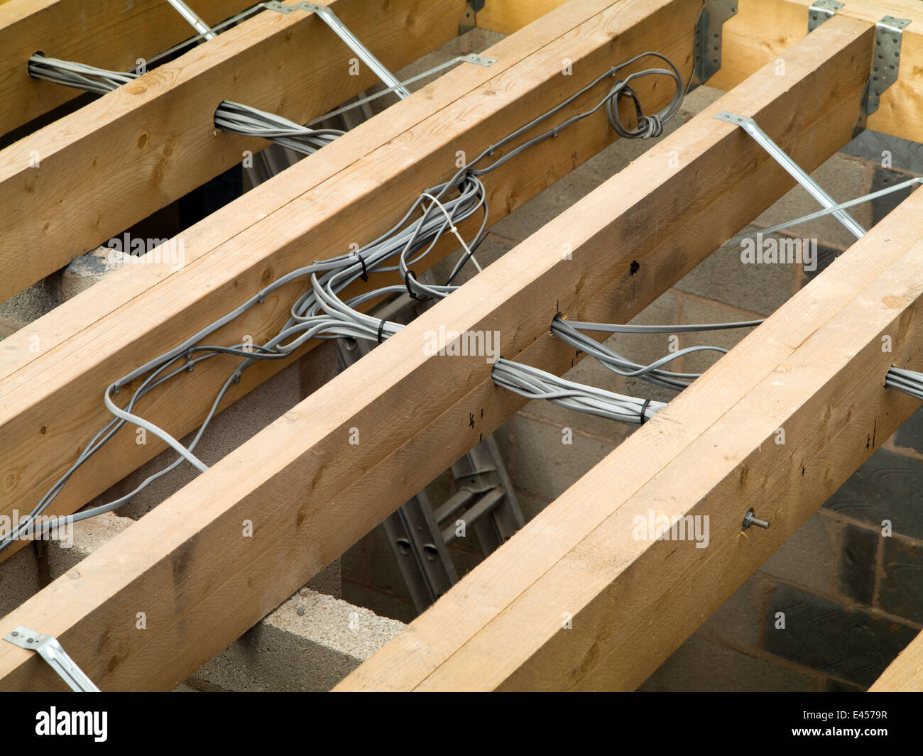 Self Building House Electrical Wiring Routed Within Traditional A Timber Joists By Qualified Electricians