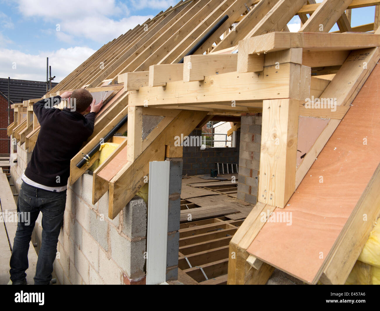 self building house, constructing roof, insulating dormer ...